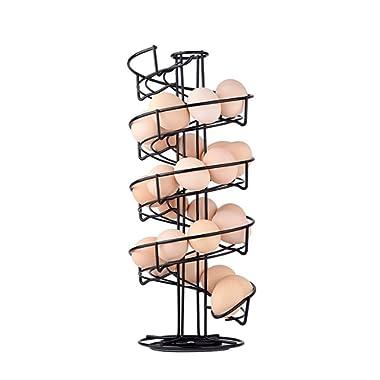 Toplife Spiral Design Metal Egg Skelter Dispenser Rack,Storage Display Rack,Black