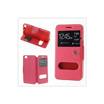 MISEMIYA - Funda para BQ Aquaris E5s / E5 4G LTE/FNAC PHABLET 2 5 4G - Funda + Protector Cristal Templado, Libro Cruzada con Soporte,Rojo