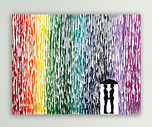 Lesbian Anniversary Gift Girl Couple Gift Lesbian Wedding Gift Rainbow Art Melted Crayon Art In The Rain Painting 16x20quot