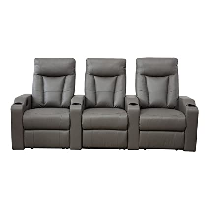 BONZY Home Theater Recliner Three Seat Recliner Chair (Straight Row Of 3,  Gray)