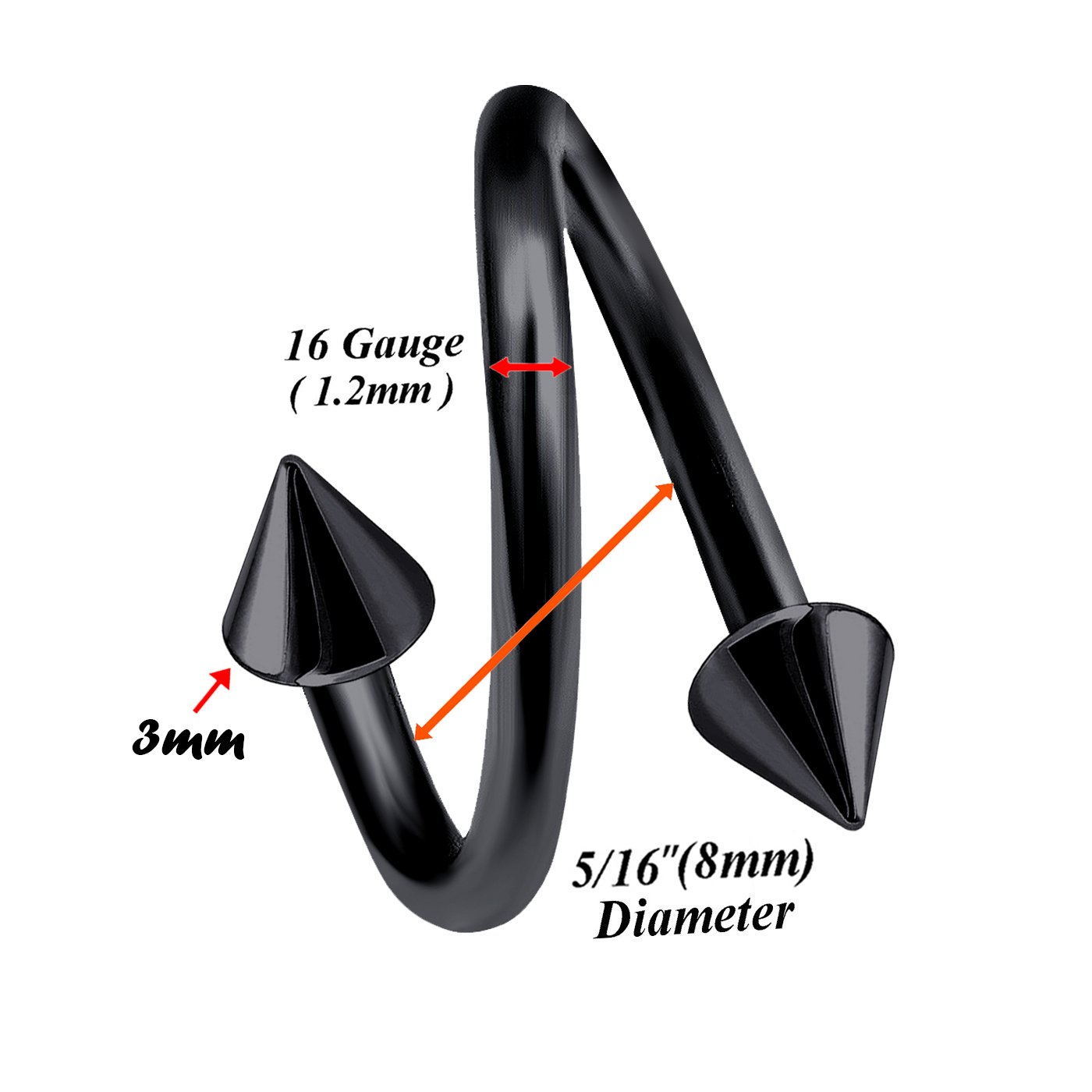 bodyjewellery 2pcs 16g 8mm Spiral Barbell Titanium Eyebrow Helix Hoop Studs Bar Twisted Earring Lip Tragus Cartilage B2QCZ Pick color