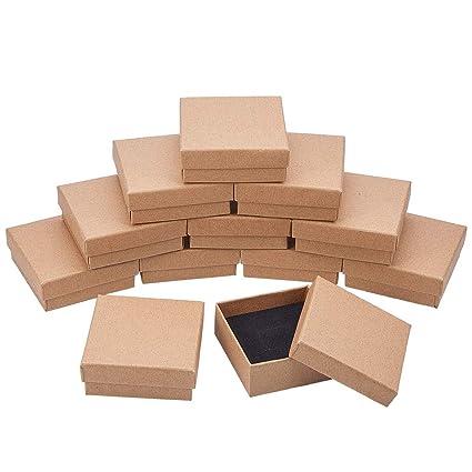 BENECREAT 16 Pack Cajas de Cartón para Joyeria, Elegante Caja de Regalo Rectángulo y Tamaño