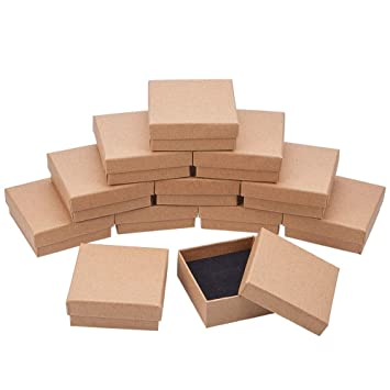 BENECREAT 16 Pack Cajas de Cartón para Joyeria, Elegante Caja de Regalo Rectángulo y Tamaño, 7 x 7 x 2.7cm Marrón: Amazon.es: Hogar
