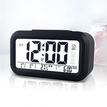 KHSKX Pequeño Despertador Digital, Reloj Creativo sonoro, Estudiante Dormitorio Noche luz cabecera Reloj, Reloj Moda Simple LED Reloj Digital, ...