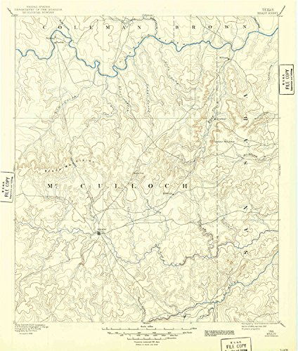 - YellowMaps Brady TX topo map, 1:125000 Scale, 30 X 30 Minute, Historical, 1894, Updated 1949, 20 x 17 in - Tyvek