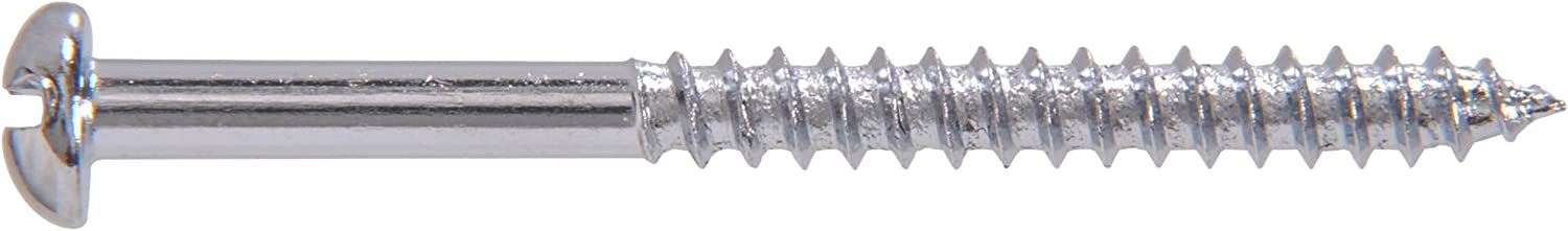 Chrome Plated Steel Round Head Slotted Wood Screw 60-Pack The Hillman Group The Hillman Group 1395 6 X 5//8 in
