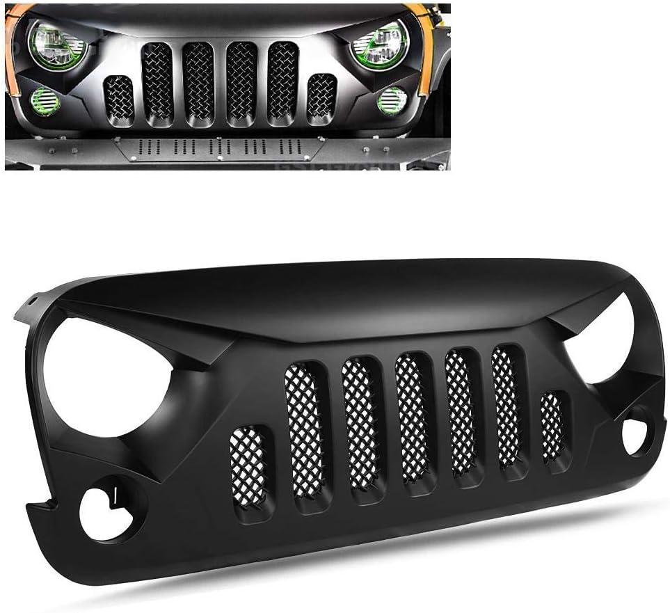 Matte Black Angry Skull Front Grille Grid Grill Mesh Insert for Jeep Wrangler JK JKU 2007 2008 2009 2010 2011 2012 2013 2014 2015 2016 2017 2018 Rubicon Sahara Sport X Unlimited Black