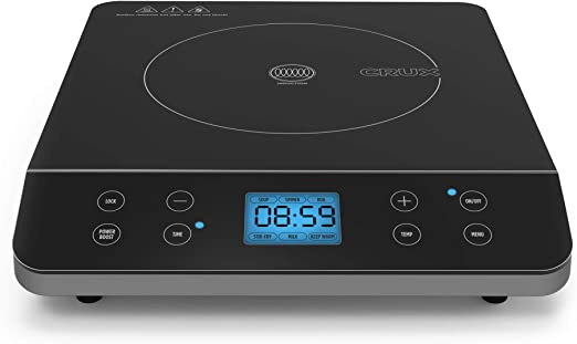 CRUX Countertop Induction Burner, Portable Electric Hot Plate, Smart Touch LCD Display, Hassle-Free Temperature Control and Adjustable Timer with Auto Shut Off, Black
