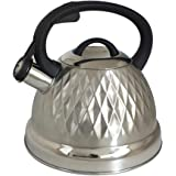 Voche® 3 Litre Silver Stainless Steel Whistling Kettle with Diamond Design for Gas, Electric & Induction Hobs