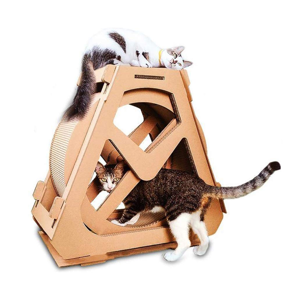 70m Cat Scratch Board, Cat Climbing Frame, redating Ferris Wheel Waterwheel Shape Corrugated Paper Creative Cats Nest (Size   58CM)