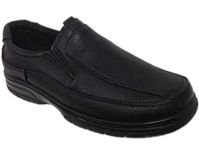 Mens Cushion Walk Black Faux Leather Slip On Comfort Casual Loafer Shoes  Size 7-11
