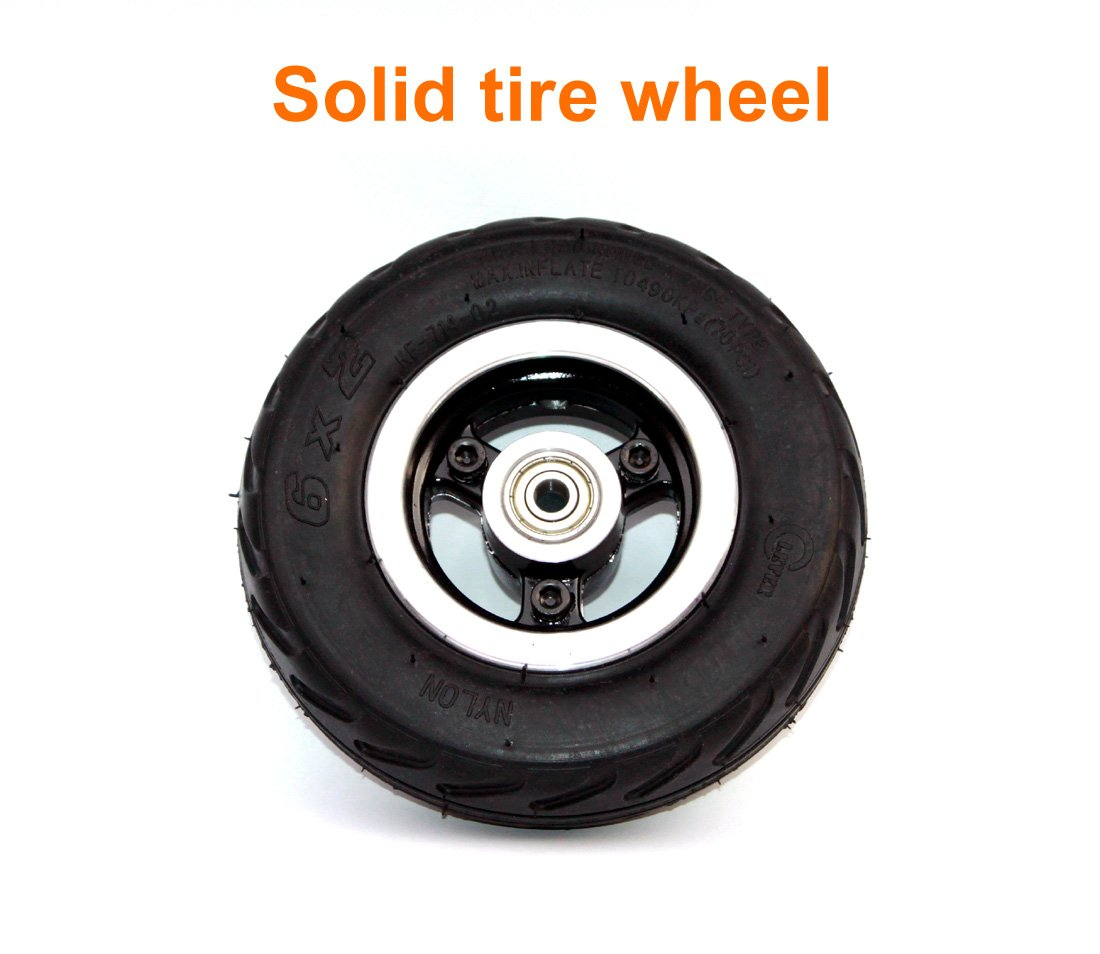 L-faster 6 Inch Scooter Wheel 6x2 Wheel with Air Tire Or Solid Tire Metal Hub with 608 Bearings 8mm Axle Hole Trolley Cart Wheel (Solid Wheel)