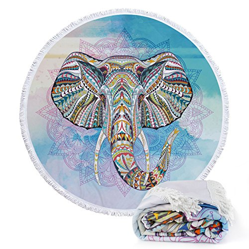 Footalk Round Roundie Indian Mandala Style Colorful Elephant Beach Towels Blankets Microfiber Yoga Picnic Mat Ultra Soft Tapestry Wall Hanging Tablecloth With Fringe Tassels