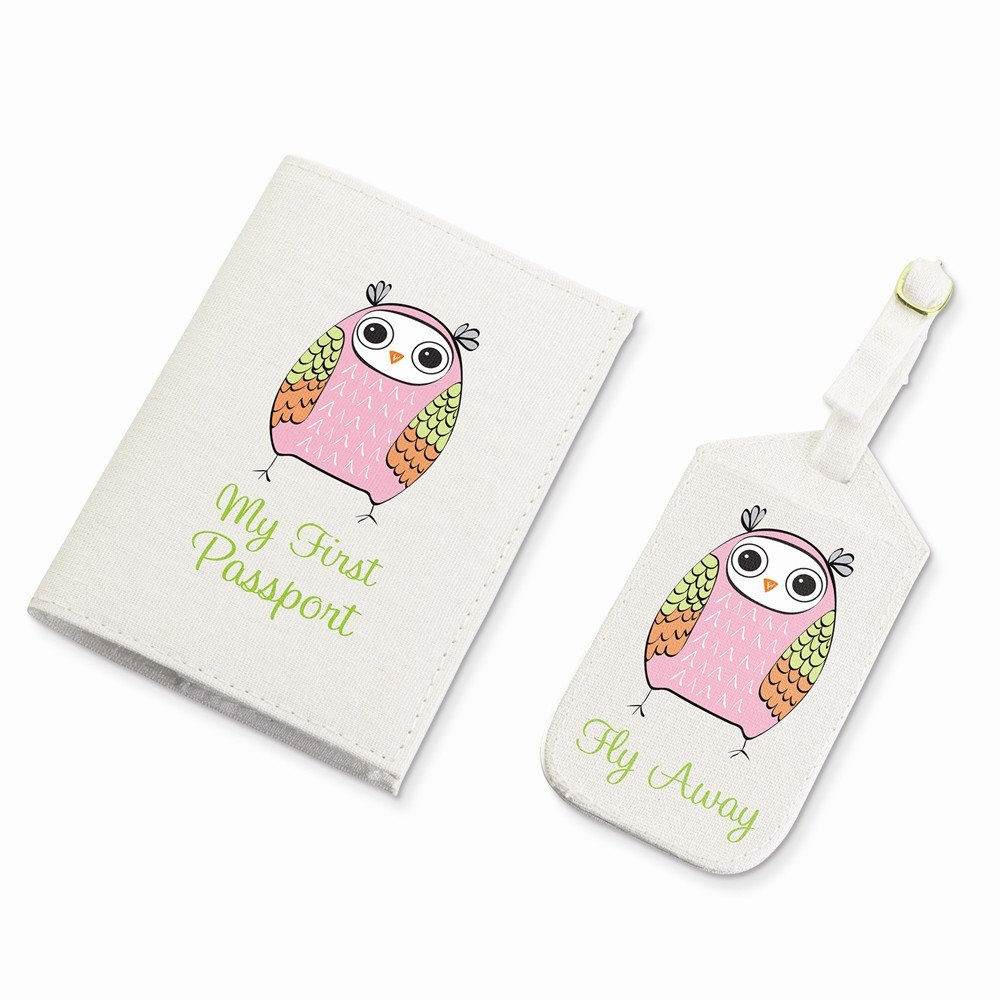 Jewelry Adviser Gifts Lillian Rose Pink Owl Luggage Tag & Passport Cover