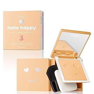 BENEFIT COSMETICS Hello Happy Velvet Powder Foundation Shade 3 Light Neutral Warm