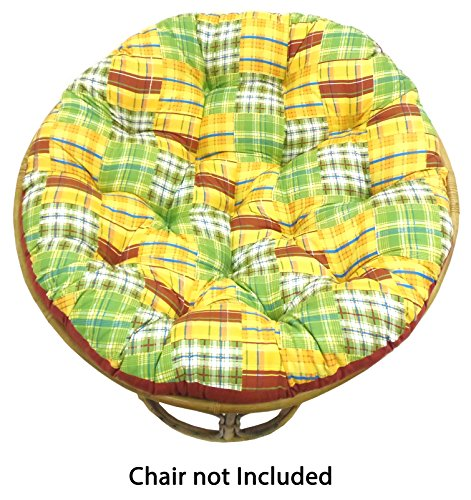 Cotton Craft Papasan Chair Cushion (unfilled shell only) - Madras Plaid Yellow Multi, 100% Cotton duck fabric, Fits Standard 45 IN round Chair - Do it yourselfers - Fill at home and (Yellow Madras)