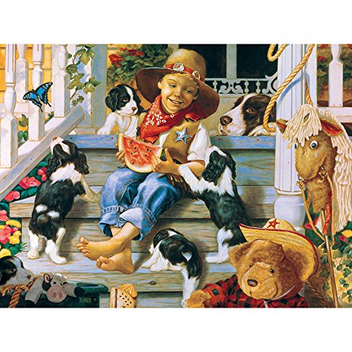 Bits and Pieces - 300 Large Piece Jigsaw Puzzle for Adults - Roundup - 300 pc Puppy Dog Jigsaw by Artist Christopher Nick
