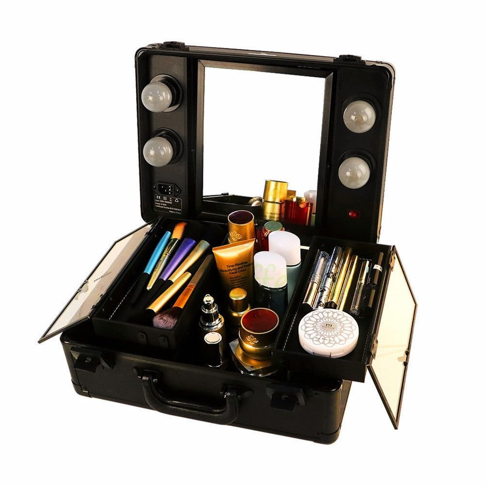 Lighted mini studio makeup cosmetic case small train suitcase mirror for Travel cases organizer