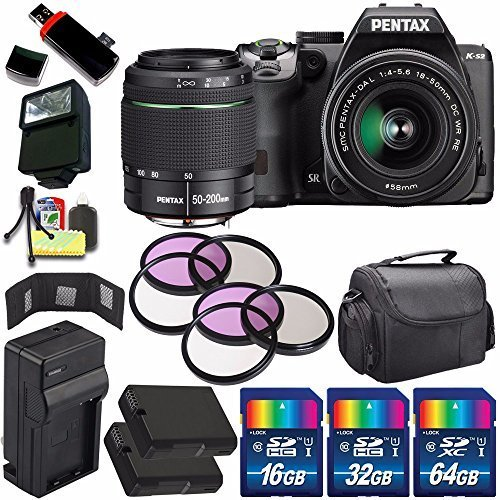 Pentax K-S2 DSLR Camera with 18-50mm & 50-200mm Lenses (Black) + Replacement Battery + External Charger + 112GB Deluxe Accessory Kit Bundle