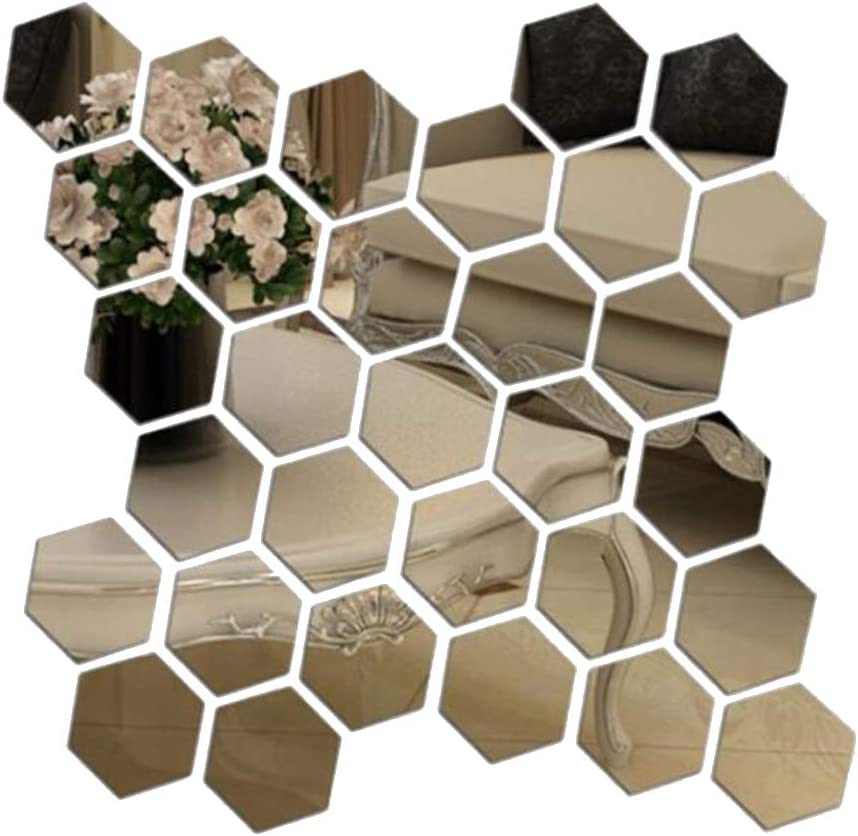 Prabahdak 12 PCS Mirror Wall Sticker DIY Acrylic Wall Stickers Hexagon Stickers Self Adhesive Sticker Wall Sticker Decals for Home Living Room Bedroom(S 3.93x 3.34 x 1.96 inches)