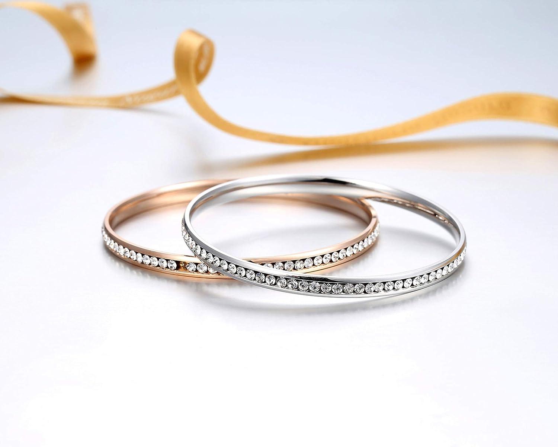 ALLEN DANMI Jewelry18 K Gold//Rose Gold//White Gold Plated Cubic Zirconia Minimalist Slip on Bangle Bracelet Shining Luxury Gift for Women.