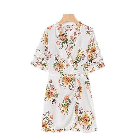 7d18cef2c2 Women Summer Dress Boho Floral Print Chiffon Beach Dress V-Neck Short  Sleeve Frill Ruffle