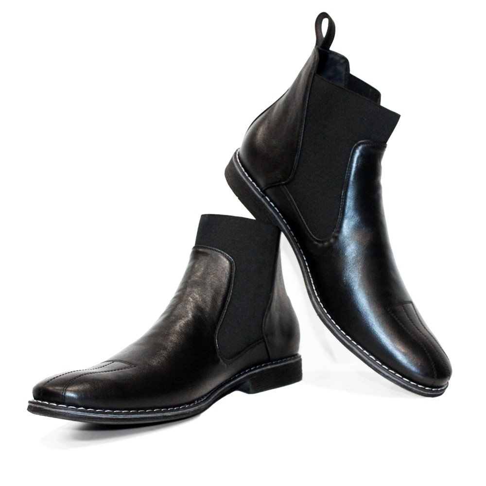 Handmade Italian Mens Color Black Ankle Chelsea Boots Cowhide Smooth Leather Slip-On PeppeShoes Modello Pene