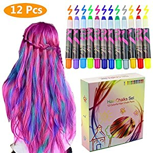 Philonext 12 Color Temporary Hair Chalk Gift Set for Kids Colorful Temporary Non-Toxic Portable Hair Coloring Chalk Pens Christmas Birthday Gifts Present for Girls (12 Color)