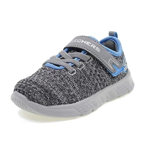 Skechers Chaussures DE Sport avec Velcro Easy Pace Enfant 95032B Gris/Bleu  Taille 21