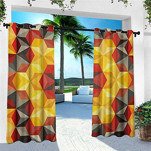 (Modern Art, Outdoor Curtain Waterproof, Psychedelic Design with Geometric Kaleidoscope Diagonal and Fractal Star Image, for Pergola W72 x L108 Inch Multicolor)