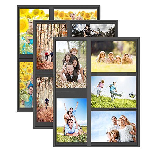 UnityStar 3-Pack Magnetic Picture Frames, 4x6 Collage Photo Frame for Refrigerator, Hold 15 Photos in Total, Black