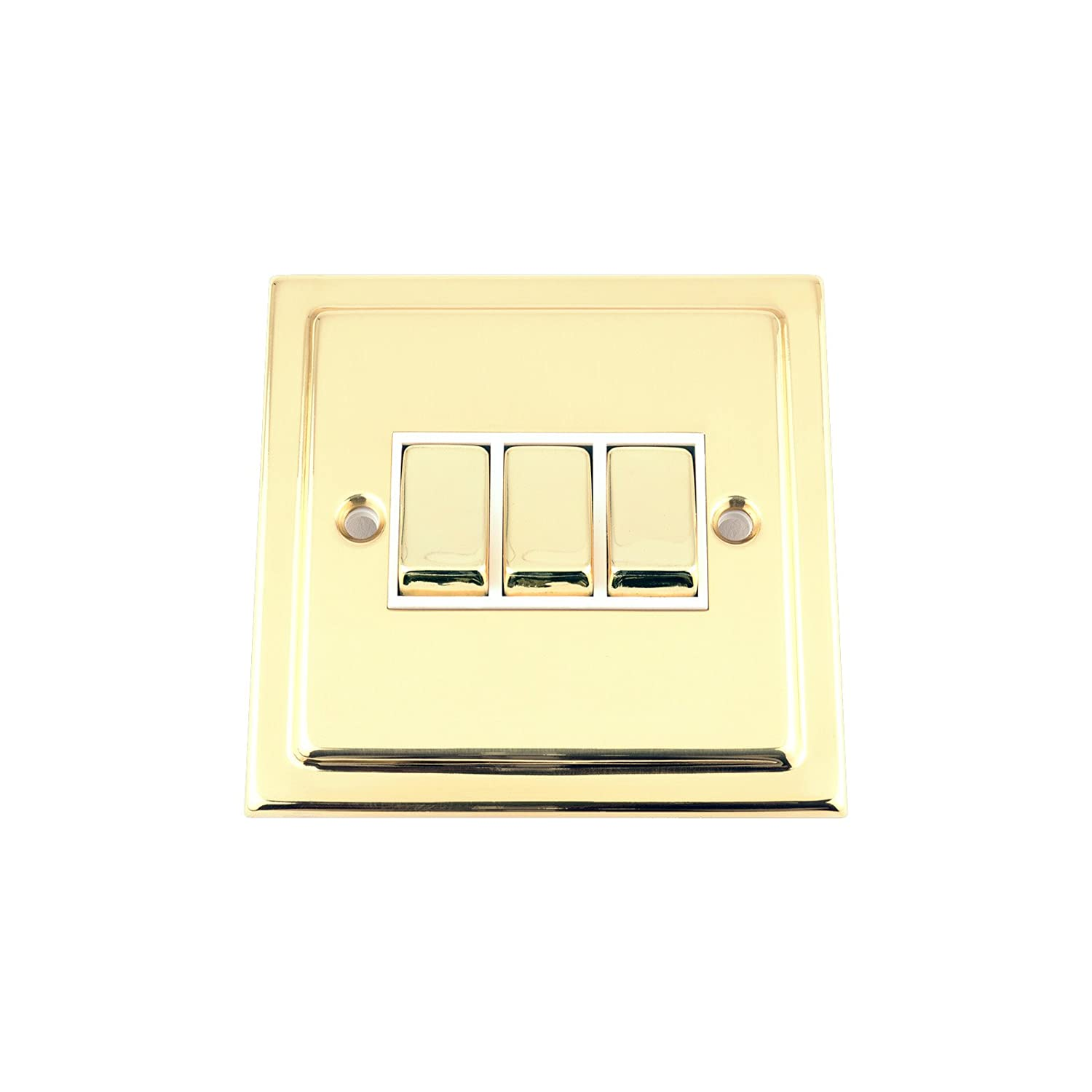 Light Switch Triple 3 Gang - Victorian Polished Brass - White Insert - Metal Rocker Switch - 10 Amp 3 Gang 2 Way
