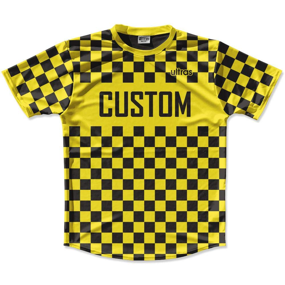 Yellow /& Black Custom Checkerboard Soccer Jersey