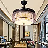 ZnzbztNew Chinese stealth ceiling fan China wind LED Dimmer Fan Light Living Room Restaurant bedroom study fan chandelier, electoral Magnolia flowers- LED Dimmer + Remote Control