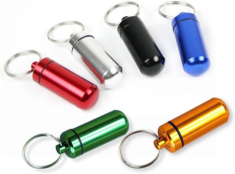 Chytaii 6pcs Pastillero Botella de Píldoras Llavero Contenedor Impermeable Portatil para Viaje Caminata Escalada Color al Azar
