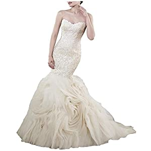 Fair Lady Strapless Lace Mermaid Wedding Dresses 2017 Ruched Gown