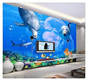Custom 3D Wallpaper Living Room Dolphin Great White Shark Underwater World Photo Wall Paper Bedroom Kitchen,250cmX175cm