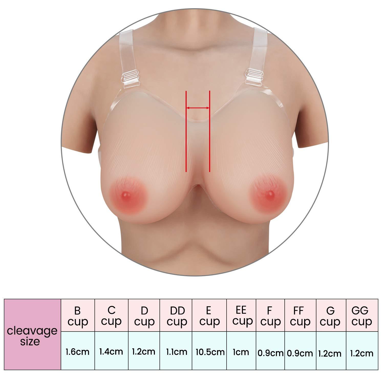 Vollence D Cup Faux Seins Poitrine en Silicone avec Sangles R/églables pour Proth/èses de Mastectomie Soutien-Gorge Pads
