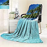 YOYI-HOME 300 GSM Fleece Duplex Printed Blanket halongOcean Decor Relax Resort Spa Palm Trees and Sea Super Soft Warm Fuzzy Bed/W31.5'' x H47