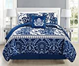 Mk Collection 5pc Bedspread coverlet quilted Floral White Navy Blue New #186 (King 5 Piece Set)
