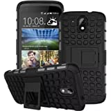 Heartly Flip Kick Stand Spider Hard Dual Rugged Armor Hybrid Bumper Back Case Cover For HTC Desire 526G Plus 526G+ Dual Sim - Rugged Black