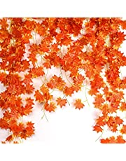 Noverlife 12Pack 27.5m/90ft Artificial Maple Leaf Vine, Fake Foliage Autumn Leaves Garland Hanging Plant for Home Garden Hotel Wedding Party Festivals Decoration Thanksgiving Halloween