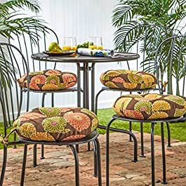 Greendale Home Fashions 15 in. Round Outdoor Bistro Chair Cushion (Set of 4)