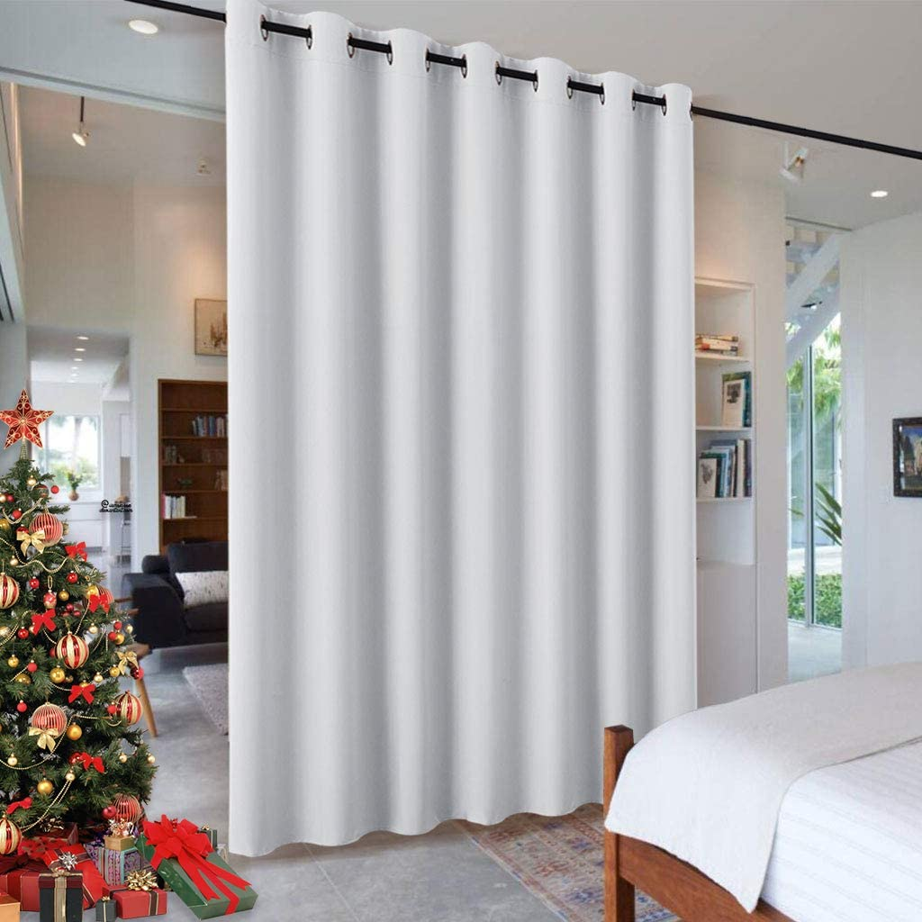 RYB HOME Room Divider for Space, Furniture Protect Ceiling to Floor Blackout Curtain Partition for Patio Sliding Glass Door/Living Room/Locker Room, Width 100 in x Length 84 in, Greyish White