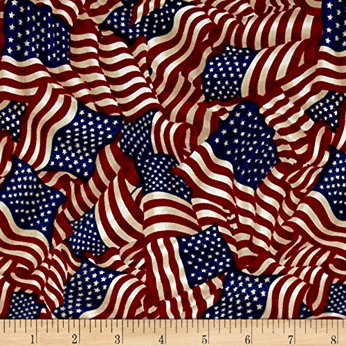 Fabri-Quilt American Pride Wavy Flag Antique Fabric by The Yard, (Flag Quilt Patterns)