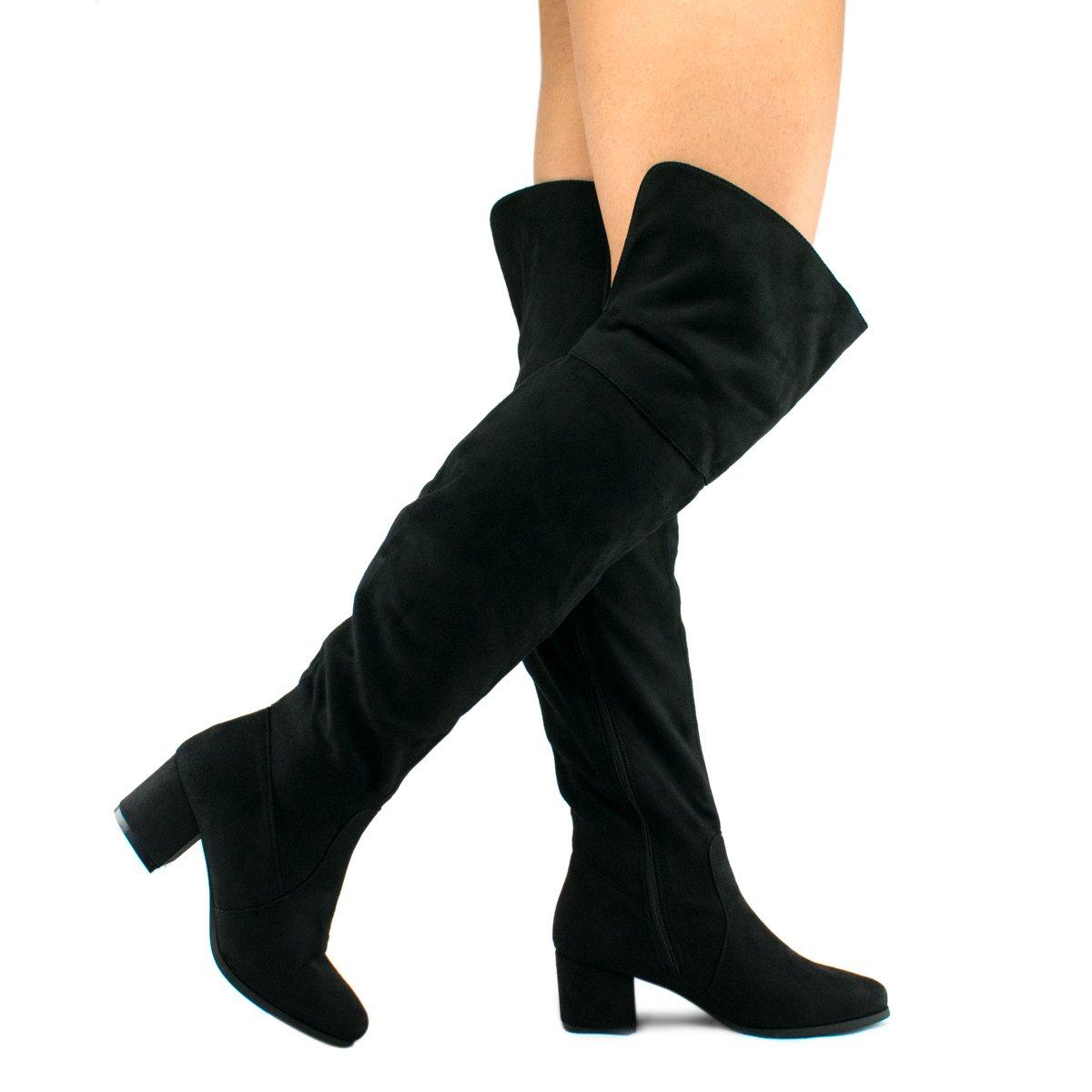Women's Over The Knee Stretch Boot - Trendy Low Block Heel Shoe - Sexy Over The Knee Pullon Boot - Comfortable Easy Heel Boot, TPS Linden-01 v4 Black Size 6