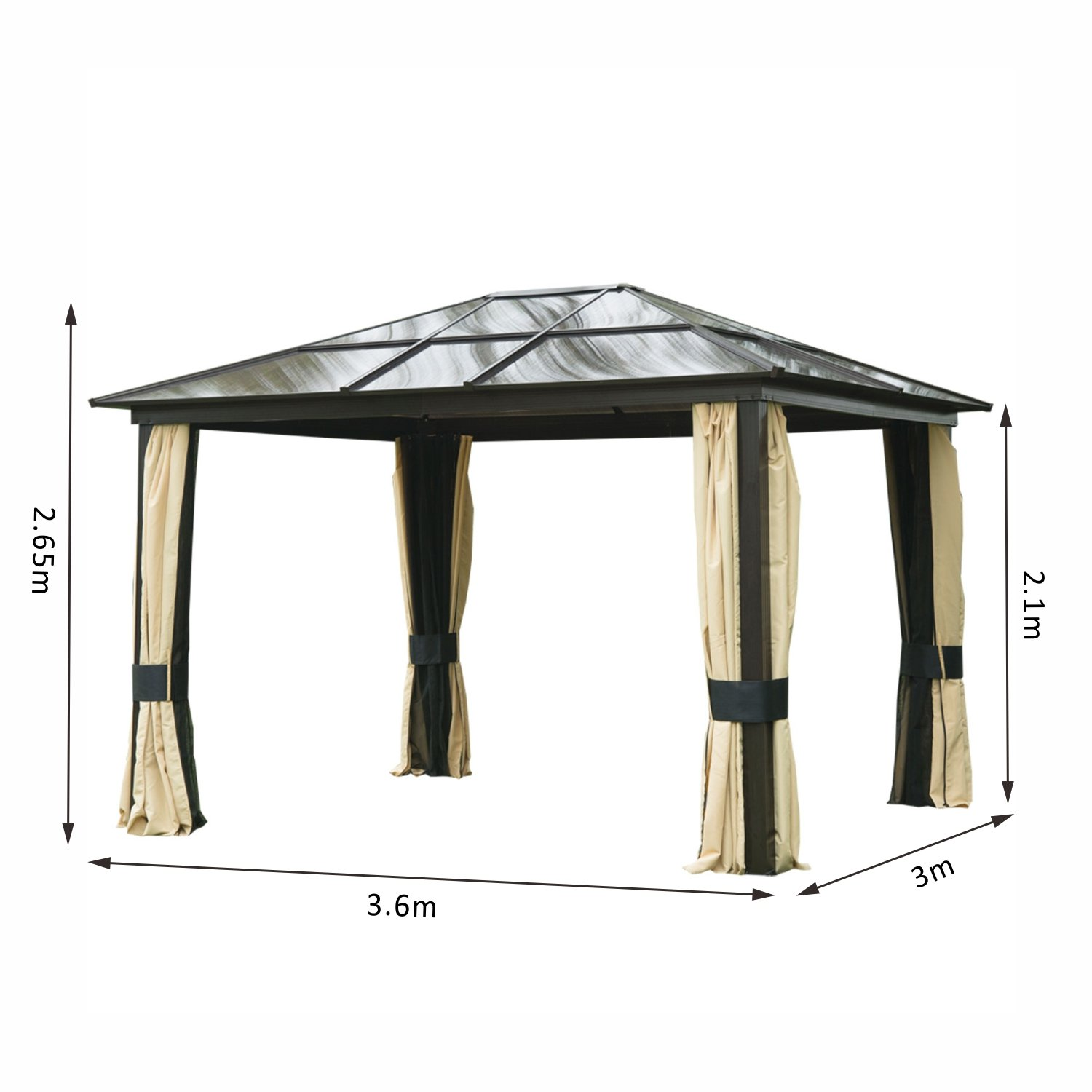 Outsunny 3 x 3 6m Patio Aluminium Gazebo Canopy Marquee Party Tent