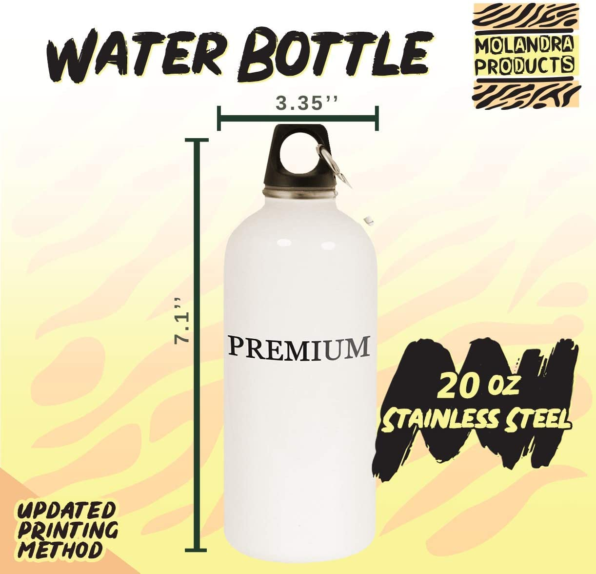 B083PPJF9L #la - 20oz Hashtag Stainless Steel White Water Bottle with Carabiner, White 51jAKLH9OaL