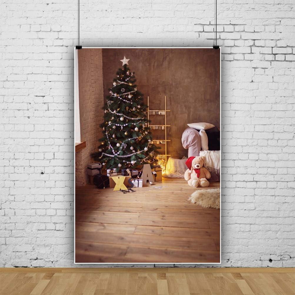 Xmas Holiday Backdrop 6.5x10ft Happy New Year Photography Background Interior Room Decor Christmas Tree Light Stars Balls Gift Brick Wall Wooden Floor Cute Bear Family Kids Portrait Shoot
