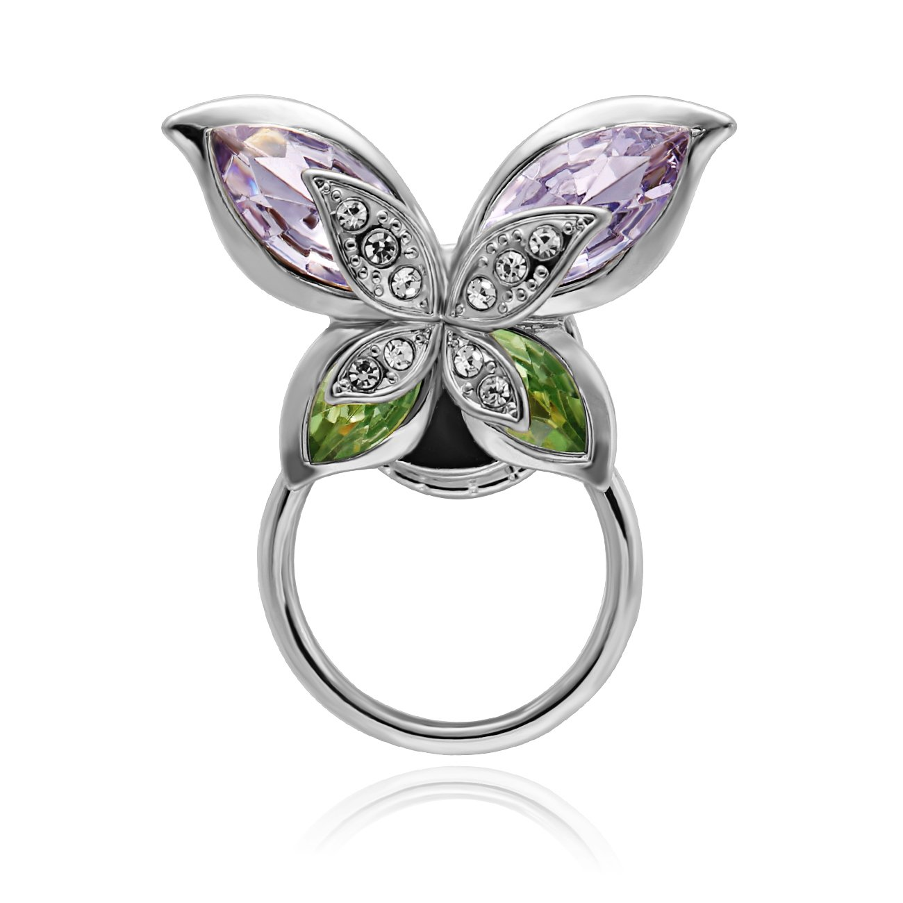 SENFAI New Style Beautiful Simple Crytsal Colorful Butterfly Eyeglass Holder Trendy Brooch Pin For Women (silver)